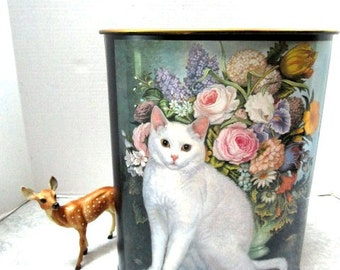 Pristine Vintage Trash Can Metal w/ White Cat + Pink Roses Floral Shabby Chic 80s Feminine Boudoir, Trash Tin, Waste Bin, Garbage