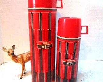 PAIR Vintage Thermos Retro Red Black Stripe King Seeley Vacuum Bottles, Pint + Quart Size, Man Cave, Fall Football Tailgating Picnic, Vase,
