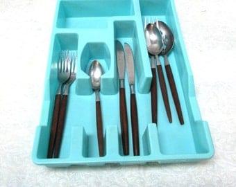 Extra Large Vintage Drawer Organizer Tray Compartments Blue Aqua Silverware Cutlery Flatware Holder Plastic Kitchen Bathroom Loma Industries