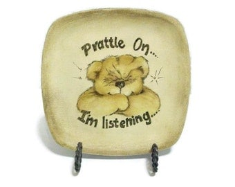Hand Painted Bear On Small Plate | Prattle on..I'm Listening