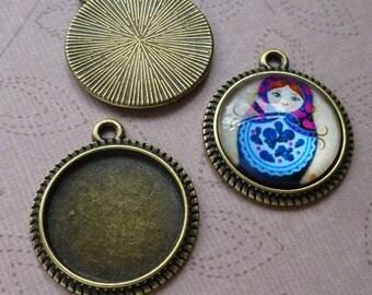 12 pcs antique bronze colour round setting, cabochon base, blank for 16mm