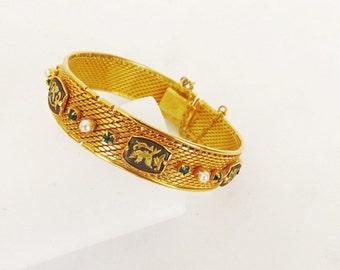 Vintage Damascene Bangle Bracelet, Designer Signed Radi Spain, Emerald Green Rhinestones, Faux Pearls, Upscale Costume Jewelry, Slide Clasp
