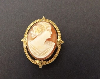 Vintage Genuine Hand Carved Cameo Brooch, Cameo Pendant, 10 Karat Gold, Heirloom Jewelry, Fine Jewelry, Upscale Jewelry, Accessories
