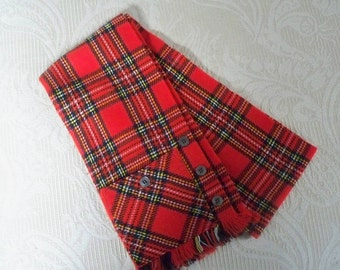 Vintage Accessory Men's Scarf Red Plaid Scardigan Suit Vest