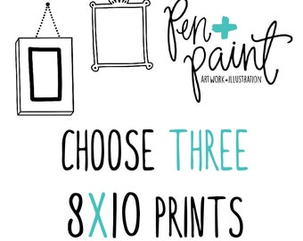 THREE 8 x 10 art prints, Inspirational Quote, Bible Verse, Scripture, Kitchen Art, Colorful, Joy Quote, Inspiring Quote