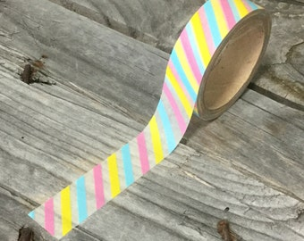 Washi Tape - 15mm - Blue, Pink, & Yellow Diagonal Dtripes on White - Deco Paper Tape No. 598