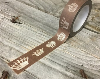 Washi Tape - 15mm - Royal White Crowns on Brown - Deco Paper Tape No. 435