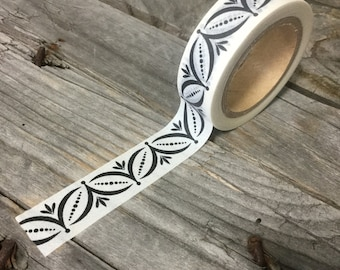 Washi Tape - 15mm - Black Decorative Pattern on White - Deco Paper Tape No. 702
