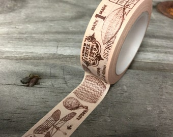 Washi Tape - 15mm -  Vintage Drawings on Soft Pink - Deco Paper Tape No. 309