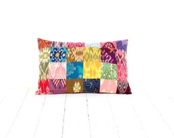 Ikat Pillow, Patchwork, 12x18