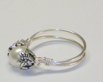 Pearl Ring, Purity Ring, Sweet Sixteen Gift, Sterling Silver Band