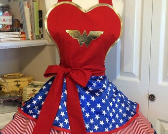 Handmade Pin up girl style Wonder Woman apron made to order
