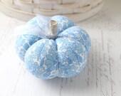 Blue and White Floral Cotton Print Pumpkin Pincushion Blue Pumpkin