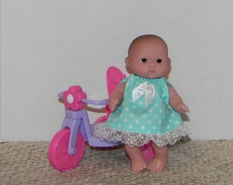 LC5DP-01 ) 5 inch Lil Cutesies Berenguer baby doll clothes, 1 dress with panties ( fits the  big and little head babies