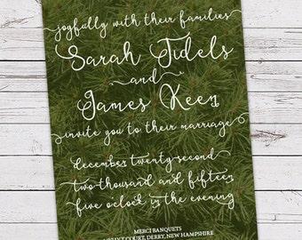Printable Wedding Invitation Set - Invite, RSVP Card, Info Card - Evergreen