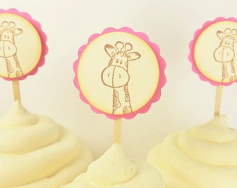 Baby Shower Cupcake Toppers Pink and Ivory Giraffe Its a Girl or Birthday Party
