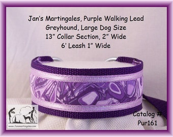 Jan's Martingales, Purple Walking Lead, Collar and Lead Combination, Greyhound, Large Dog Size, Pur161