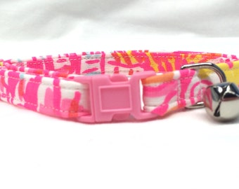 Lilly Pulitzer Hot Pink Fabric Girl Cat Collar Kinis in the Keys