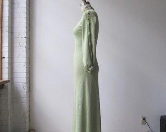 1970s vintage cotton knit crochet maxi dress