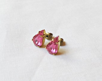 Rose Pink Earrings. Ear Studs Vintage Fuchsia Glass. Teardrop Pear Glam It Up. Jewellery Jewelry Cute Small. Miniature Sparkly Bridesmaid