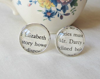 Pride and Prejudice Cuff Links Jane Austen Mr Darcy Elizabeth Bennet. Cufflinks Geekery Wedding Groom Words. Literature Two Cheeky Monkeys