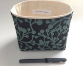 small fabric storage bin // brown and teal