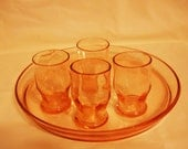 Depression Pink Glass Cordial Shot Glasses with tray