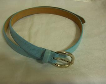 Ladies Large Leather Belt Talbot's Robins Egg Blue