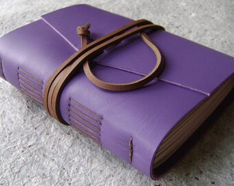 """Leather journal / travel journal, lavender diary, 4"""" x 6"""", handmade journal by Dancing Grey Studio(2076)"""