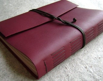 """8.5""""x 11"""" leather journal, country red journal, 408 pages, handmade leather journal by Dancing Grey Studio (2098)"""