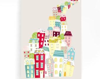 Nursery Canvas Art Print, City Living Skyline, Cityscape, Textile Print, Modernist, Home interior decoration, nursery, baby, gift idea