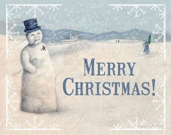 Merry Christmas - Old Fashioned Snowman -  / Holiday / Winter / Greetings - 8x10 Inch Digital Print / Printable Instant Download and Print