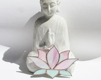Stained Glass Suncatcher, Pink Lotus Flower, Sun Catcher, Meditation, Yoga Studio, Irridescent, Garden Art, Spiritual Art, Home Decor