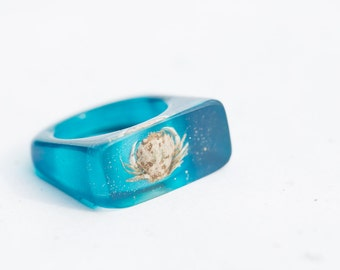 Crab Resin Ring Turquoise Blue Sea Oblong Statement Cocktail Ring OOAK modern geometric summer beach eco friendly jewelry