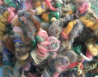 Art Yarn, Bulky Alpaca Yarn, Chunky Alpaca, Textured Yarn, Hand Spun, Multi Colored