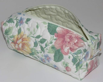 Quilted Boxy Zippered Pouch, Cosmetic Bag, Re-purposed Vintage Sheeting, Floral