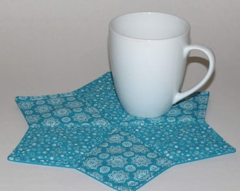 Two Mug Rugs, Snack Placemats, Coasters, Turquoise blue