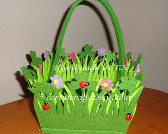 Spring felt  basket with lady bugs and three leaf clover makes a cute gift!