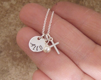 """Tiny name and cross Tiny necklace - Baptism necklace - 3/8"""" Sterling Silver name and cross necklace - Photo NOT actual size"""
