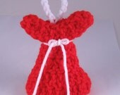 Crocheted Valentines Day Angel red white