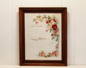 Antique Framed Marriage Certifcate Beautiful Roses 100 Years Old