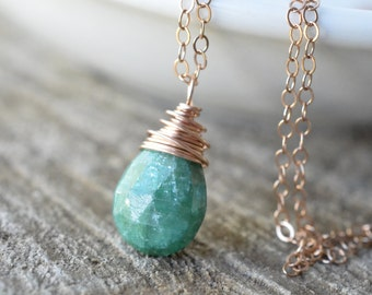 Emerald Necklace Rose Gold Genuine Emerald May Birthstone Necklace Pine Green Holiday Gemstone Necklace 14k Rose Gold Filled