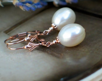 Pearl Earrings   Ivory Cream White Freshwater Drop Pearls in 14k Rose Gold Fill Fleur De Lis Leverback Dangles   Gift for Her Ready to Ship