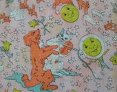 Vintage Sheer Hey Diddle Diddle Print Fabric