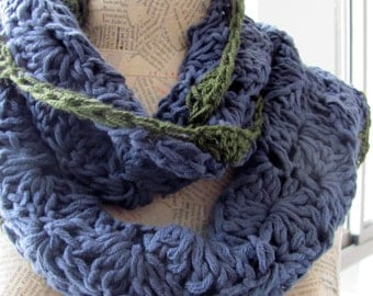 Scarf for women--Handknitted--flowers--Soft and cozy-100percent Cotton--shawl--blue green-Autumn-Valentine's Day