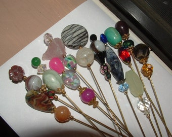 """CLOSE-OUT-my own designs- 12 hatpins- all GEMSTONES 11 tall 8"""" one is shorter so pretty"""