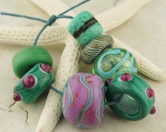 Lampwork Glass Bead Set SRA Organic Rustic Etched Matte Purple Green Blue Mini Set