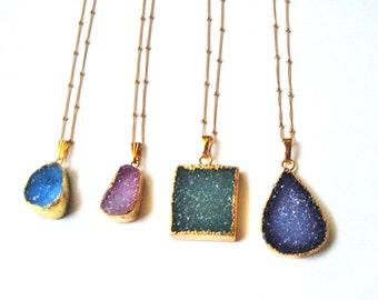 24K gold plated Druzy stone pendant, Satellite gold filled chain necklace, layering, bohemian, sparkle, gift,holidays, one of a kind
