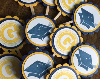 Graduation cupcake toppers, graduation party decorations, cupcake sticks- set of 12