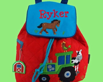 Personalized Stephen Joseph FARM Backpack In Blue and Red